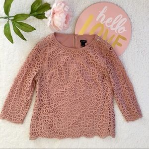 J. Crew Factory dusty Rose Lace scallop top